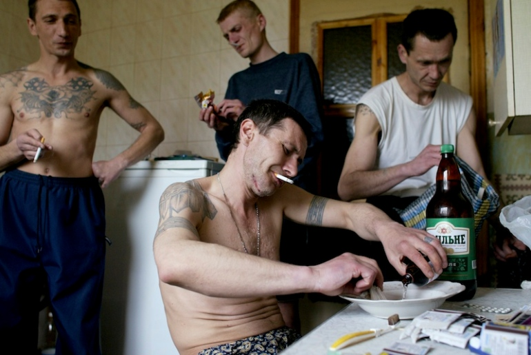 Guys mixing crystal meth in their own Russian style.