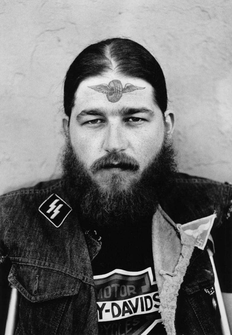 Charles Gatewood-biker with face tattoo